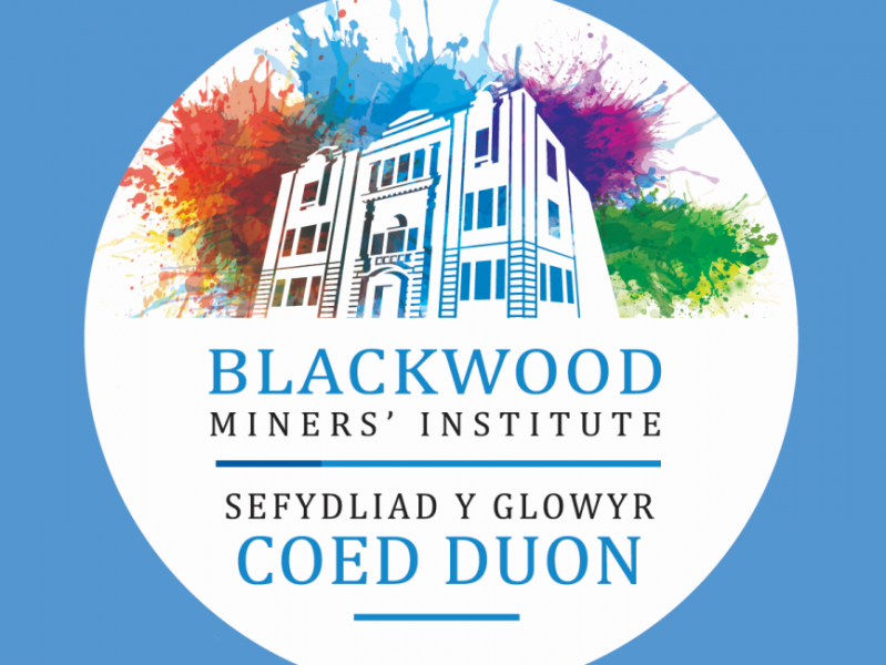A graphic of an external view of Blackwood Miners' Institute. There are splashes of colour behind the building