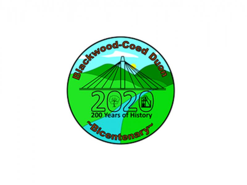 Blackwood Bicentenary Logo. It shows a graphic representation of the bridge going over a blue river with green hills either side