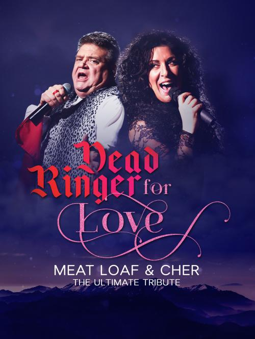 Two tribute artists are dressed as Meatloaf and Cher. The'r upper bodies are superimposed over an image of a mountainous skyline at dusk.
