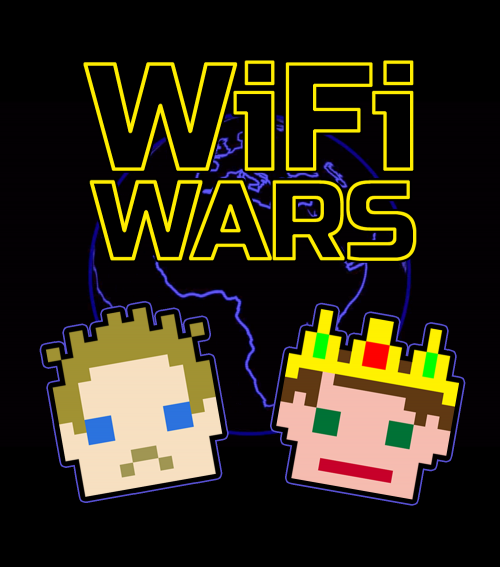 Two pixelated, old fashioned computer character heads are below the text graphics 'WiFi Wars'